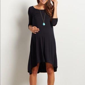 Pink Blush Black 3/4 Sleeve Hi-Low Maternity Dress